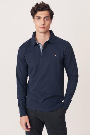 Gant ανδρική polo μπλούζα με μακρύ μανίκι μονόχρωμη