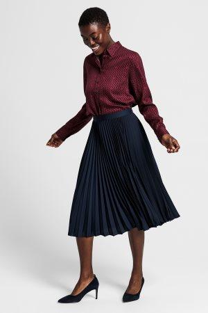Gant γυναικεία midi φούστα πλισέ μονόχρωμη