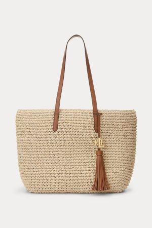 "Lauren Ralph Lauren γυναικεία πλεκτή τσάντα ώμου με μεταλλικό logo ""Crochet-Straw Medium Whitney Tote"""