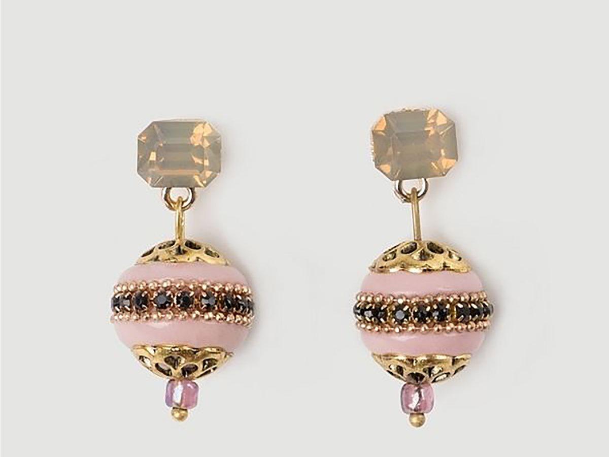HELMI   Helmi γυναικεία σκουλαρίκια με εφέ σμάλτου Ροζ   notos