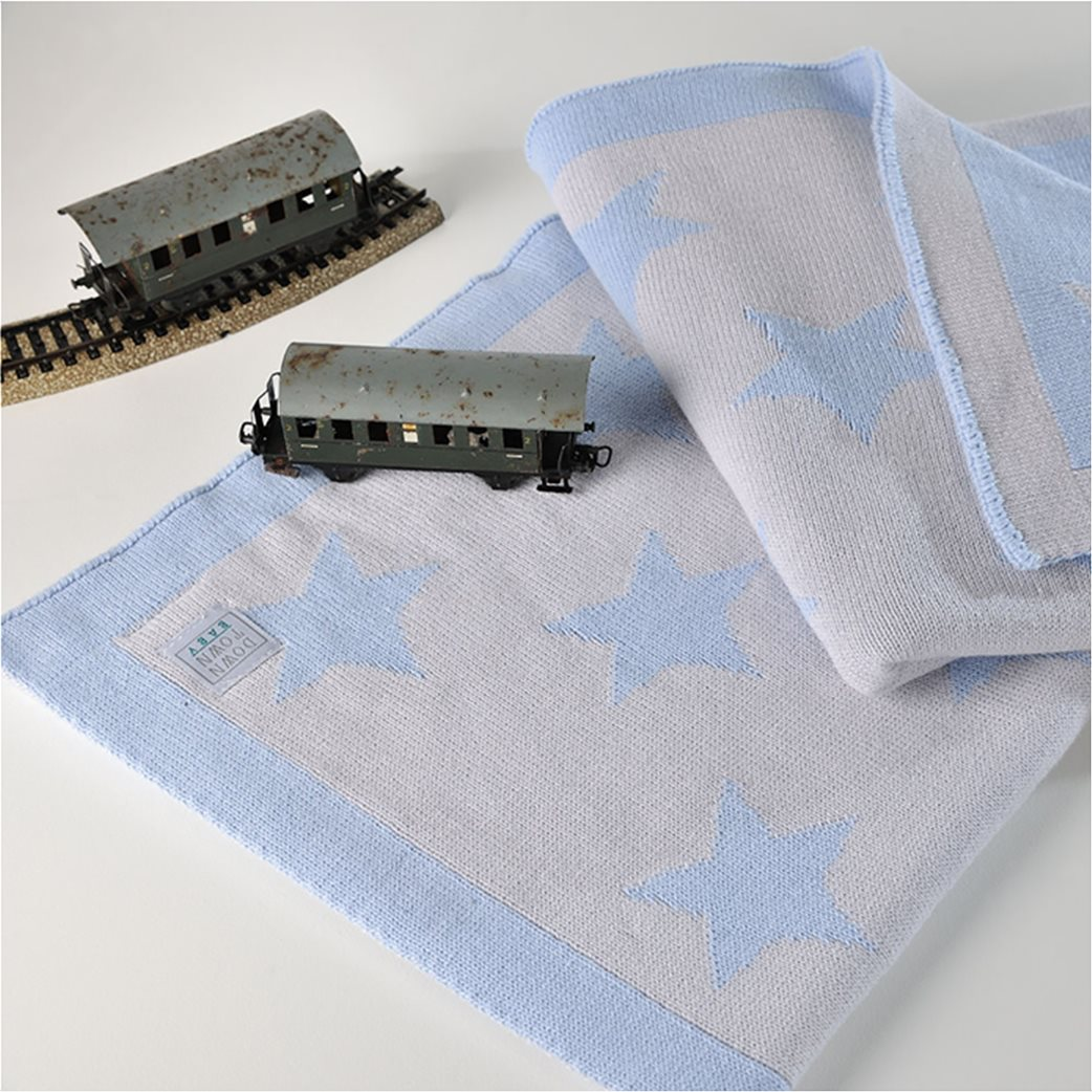 DOWN TOWN Home Βρεφική κουβερτούλα Imperio 254 Grey/Blue Star (90x120)   Γαλάζιο 1