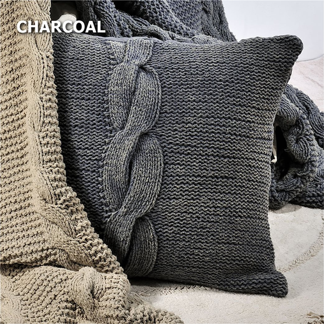 DOWN TOWN Home Κάλυμμα μαξιλαριού Braid Charcoal (50x50) Ανθρακί 1