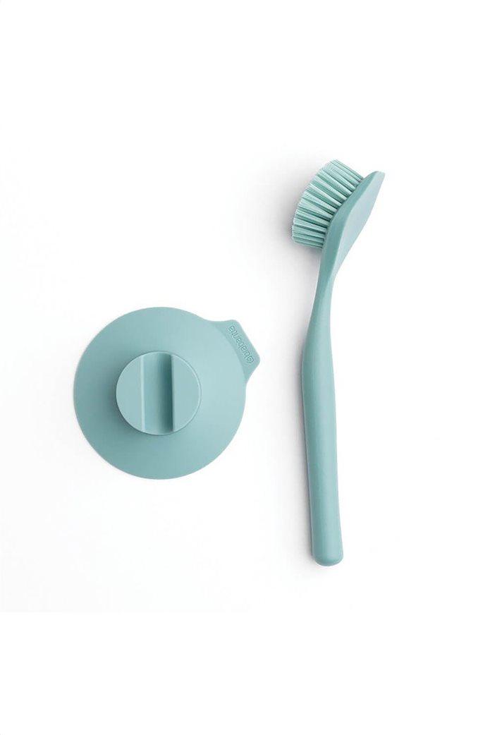 Brabantia Βουρτσάκι πιάτων & βάση με βεντούζα γαλάζιο 1