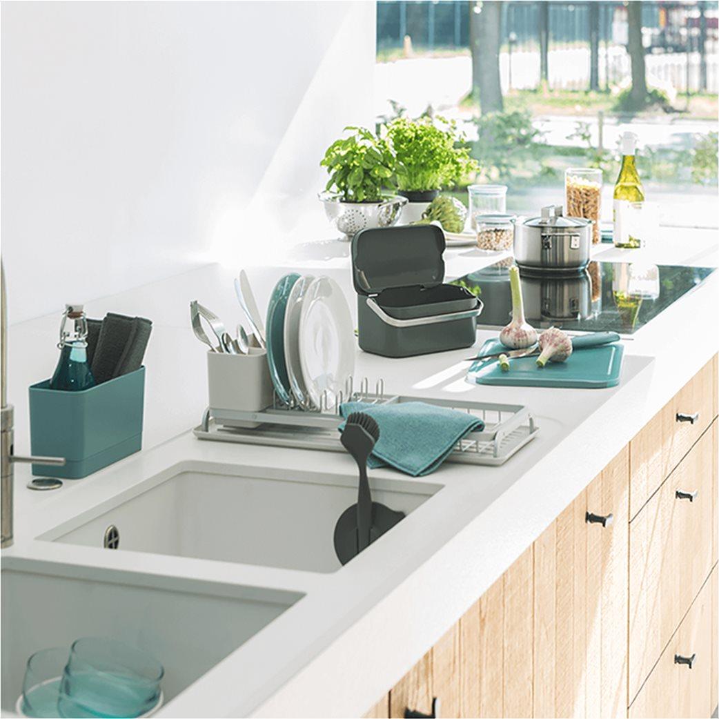 Brabantia Βουρτσάκι πιάτων & βάση με βεντούζα γαλάζιο 4