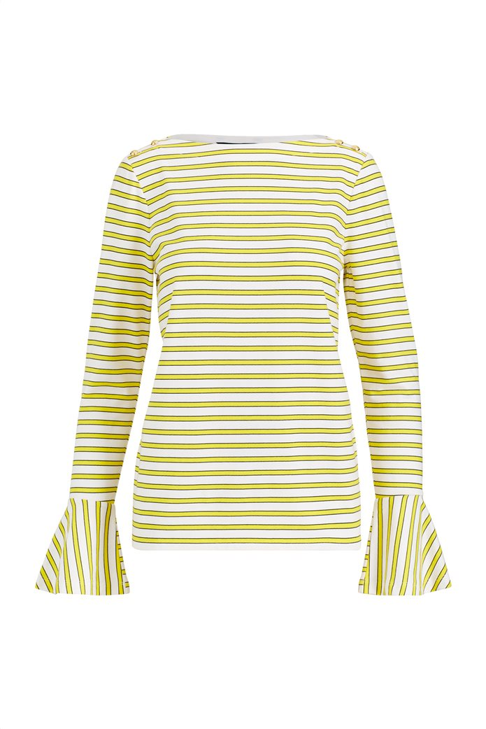 Lauren Ralph Lauren γυναικεία ριγέ μπλούζα με βολάν στο μανίκι 0