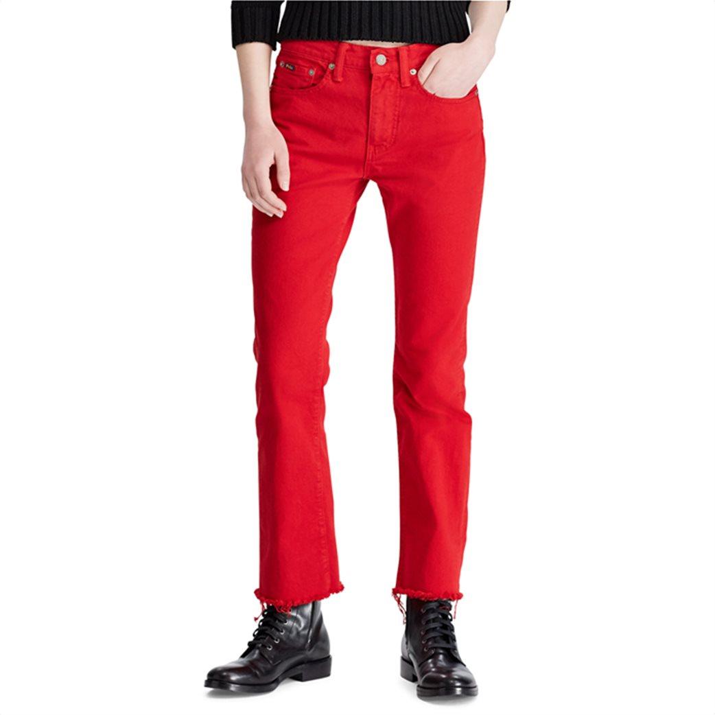Polo Ralph Lauren γυναικείο τζην παντελόνι The Chrystie Kick Flare Crop Κόκκινο 1