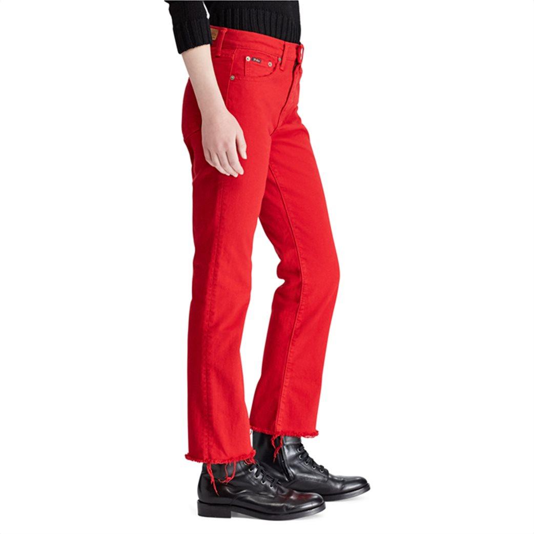 Polo Ralph Lauren γυναικείο τζην παντελόνι The Chrystie Kick Flare Crop Κόκκινο 2