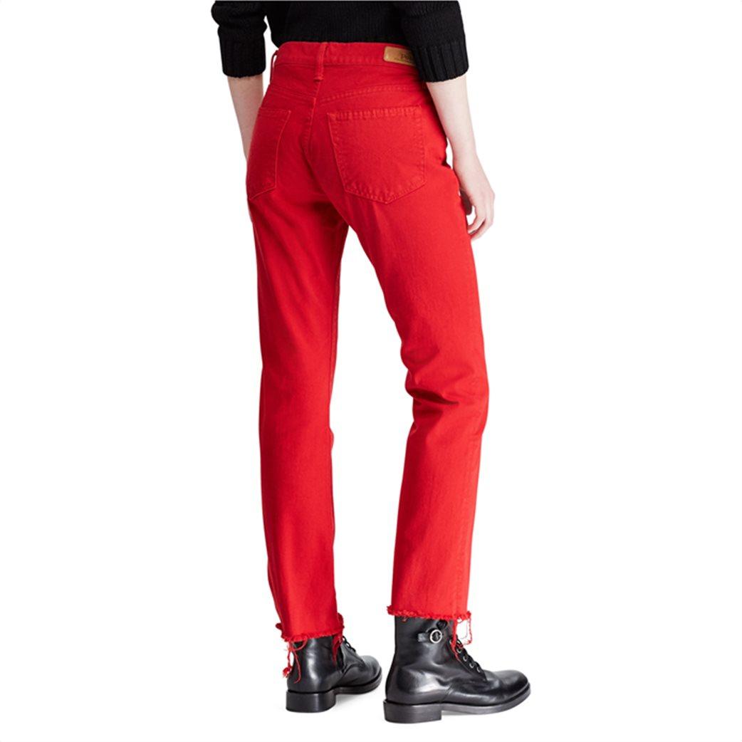 Polo Ralph Lauren γυναικείο τζην παντελόνι The Chrystie Kick Flare Crop Κόκκινο 3