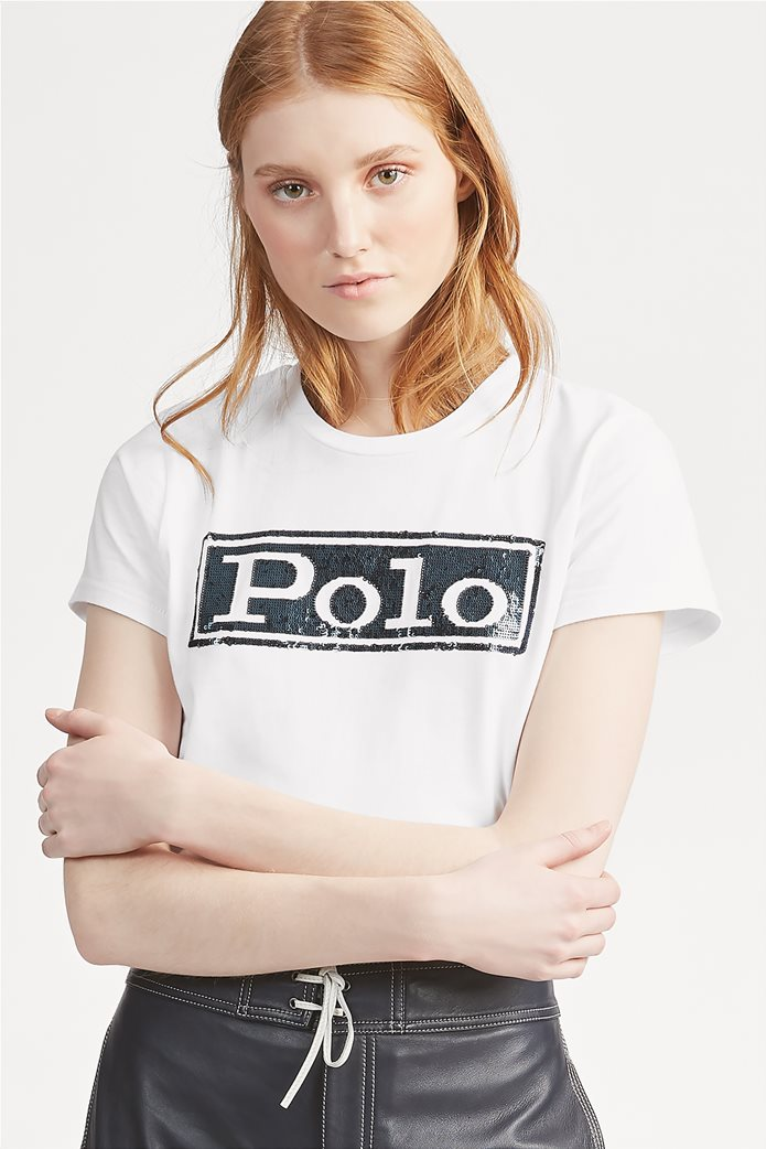 Polo Ralph Lauren γυναικείο T-shirt με παγιέτα Logo Cotton Λευκό 0