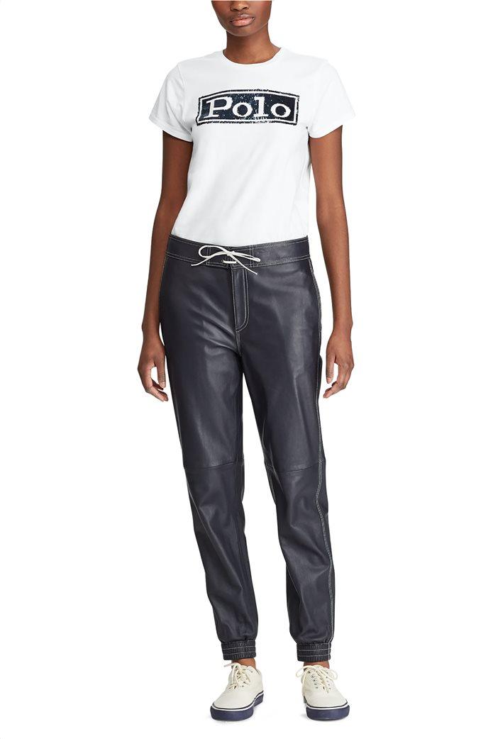 Polo Ralph Lauren γυναικείο T-shirt με παγιέτα Logo Cotton Λευκό 2
