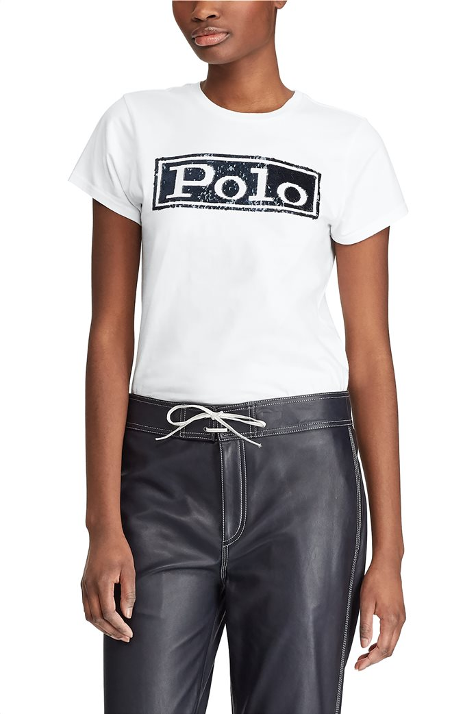 Polo Ralph Lauren γυναικείο T-shirt με παγιέτα Logo Cotton Λευκό 3