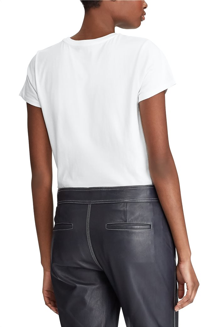 Polo Ralph Lauren γυναικείο T-shirt με παγιέτα Logo Cotton Λευκό 4