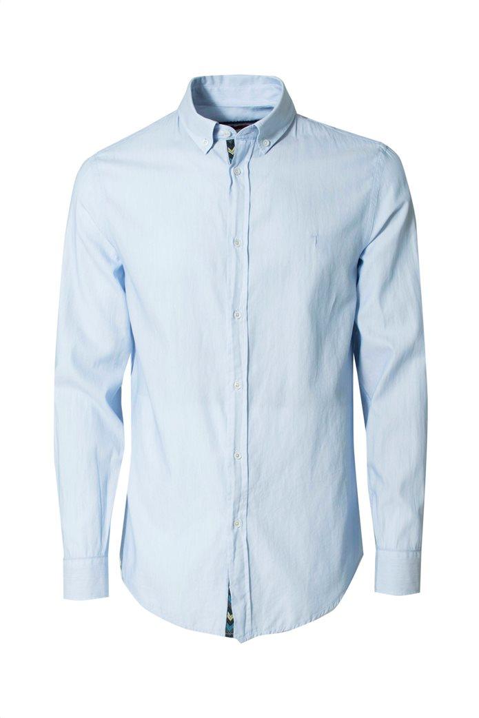 Trussardi Jeans ανδρικό πουκάμισο Regular fit Γαλάζιο 0