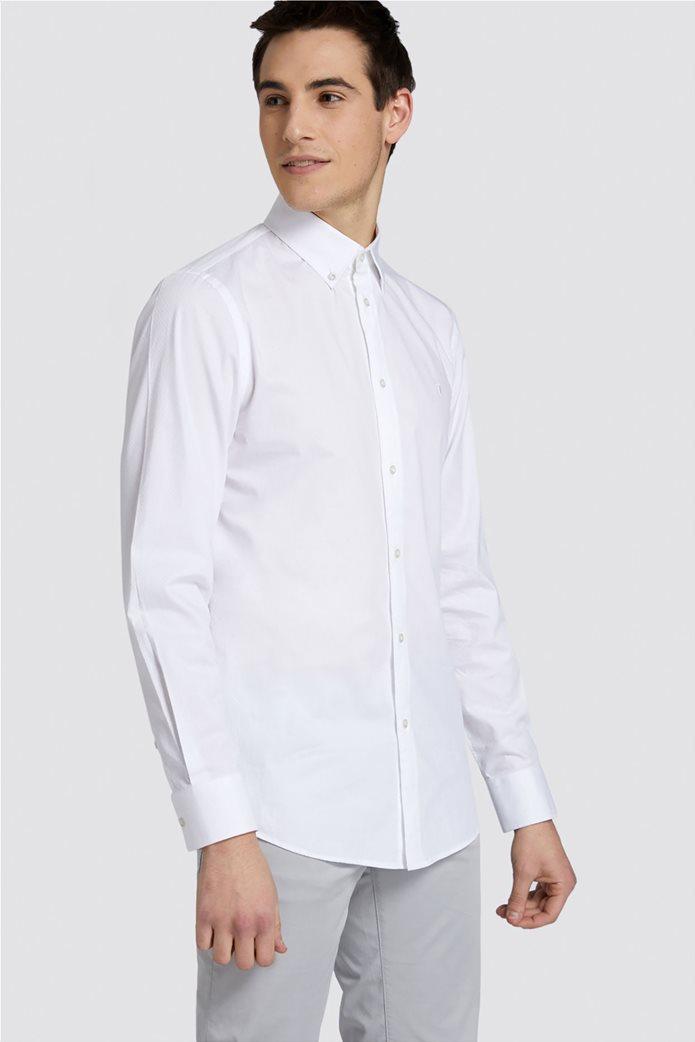Trussardi Jeans ανδρικό πουκάμισο μονόχρωμο regular-fit Λευκό 0