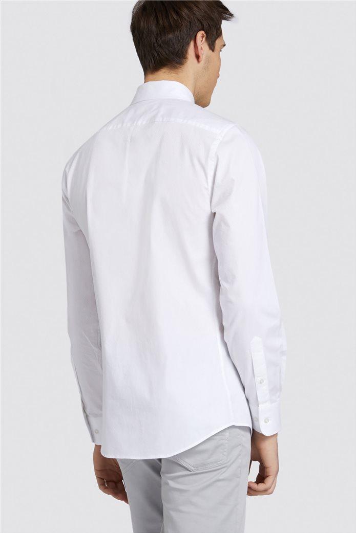 Trussardi Jeans ανδρικό πουκάμισο μονόχρωμο regular-fit Λευκό 1