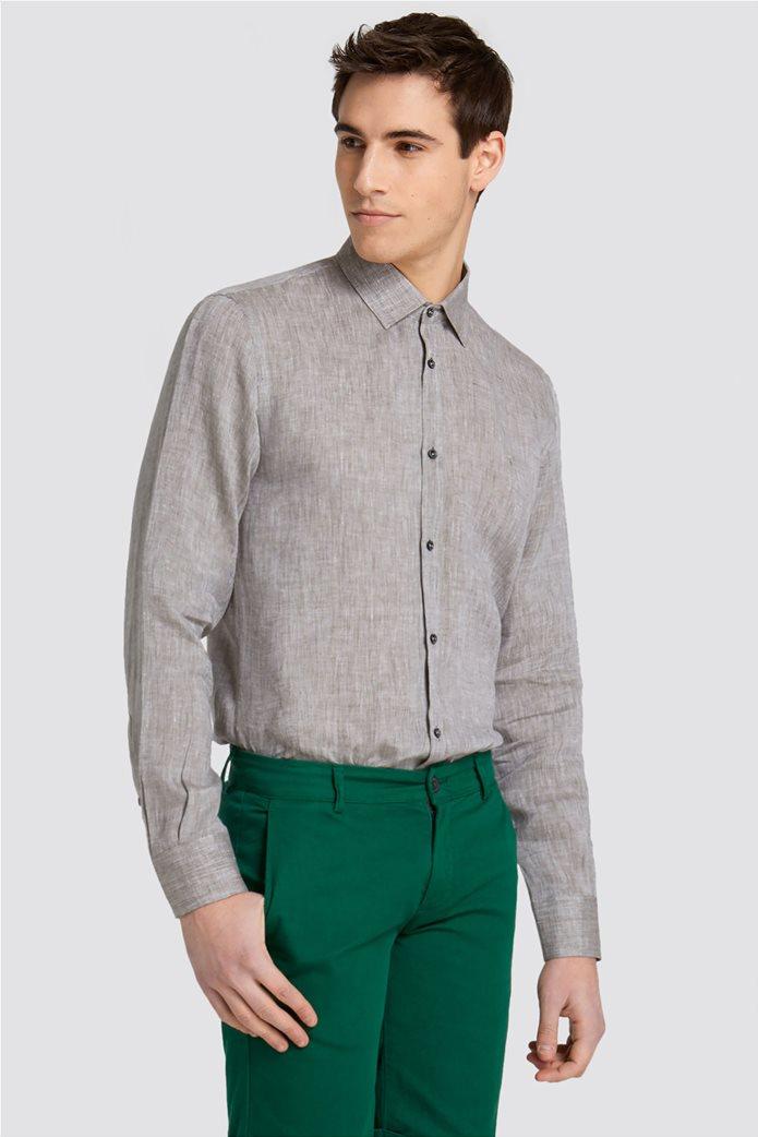Trussardi Jeans ανδρικό λινό πουκάμισο Slim fit 0