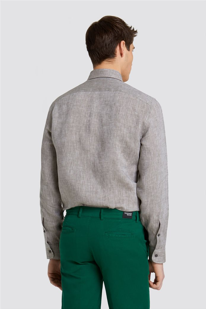 Trussardi Jeans ανδρικό λινό πουκάμισο Slim fit 1