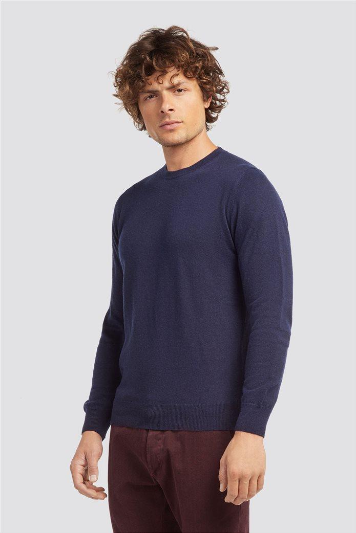 Trussardi Jeans ανδρικό μάλλινο πουλόβερ με στρογγυλή λαιμόκοψη Μπλε Σκούρο 0