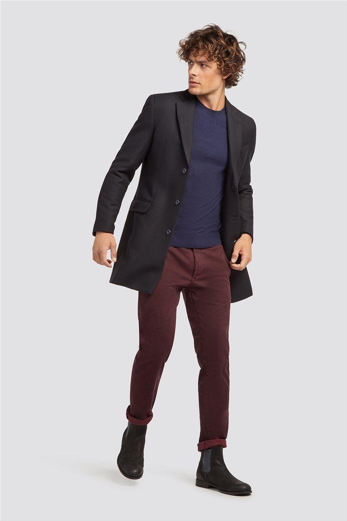 Trussardi Jeans ανδρικό μάλλινο πουλόβερ με στρογγυλή λαιμόκοψη Μπλε Σκούρο 1
