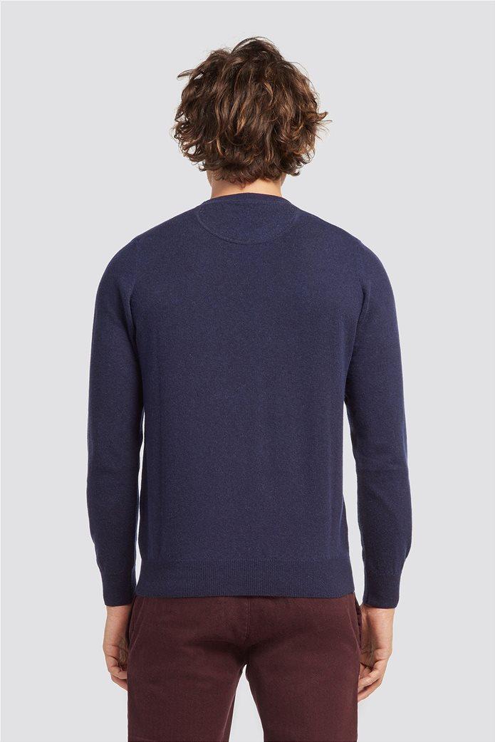 Trussardi Jeans ανδρικό μάλλινο πουλόβερ με στρογγυλή λαιμόκοψη Μπλε Σκούρο 2