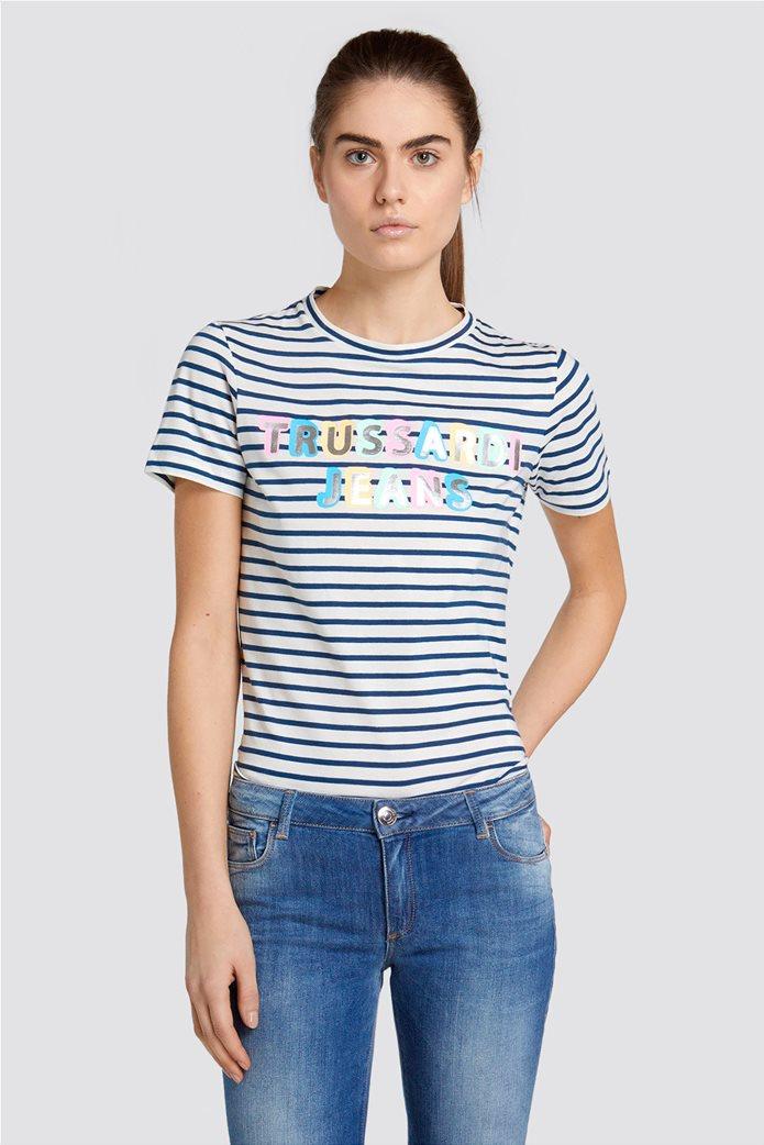 Trussardi Jeans γυναικείo Τ-shirt με brand logo print Μπλε Σκούρο 0