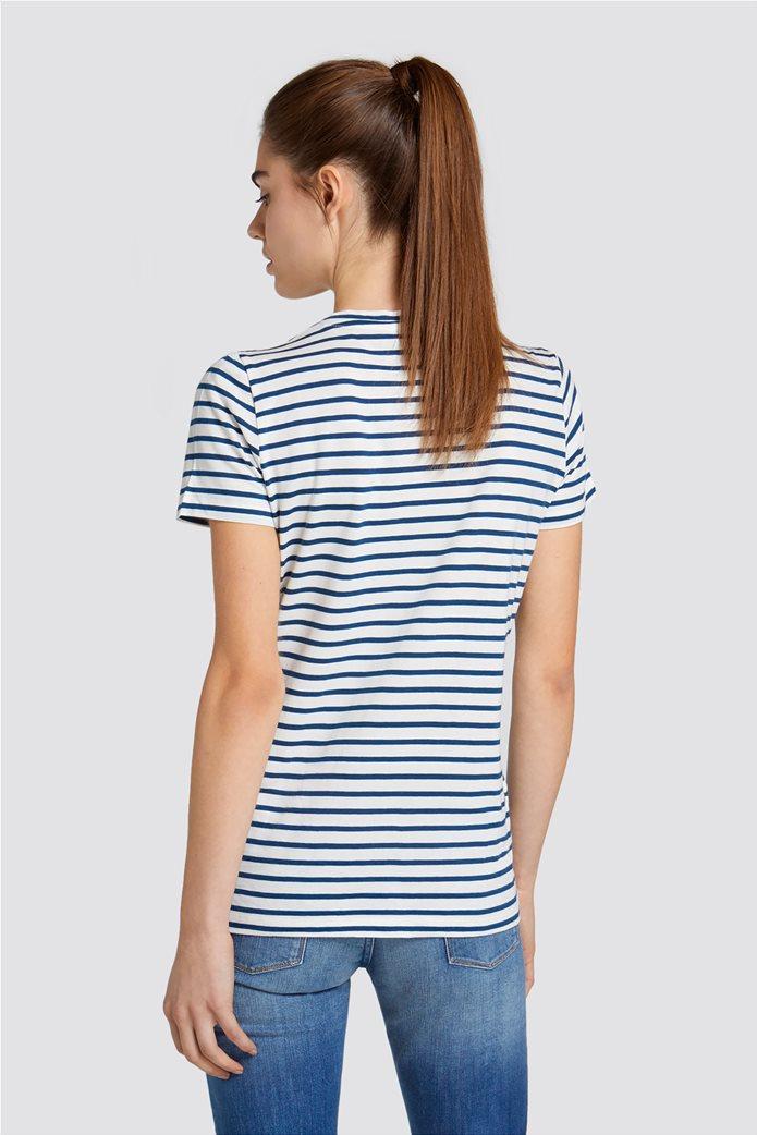 Trussardi Jeans γυναικείo Τ-shirt με brand logo print Μπλε Σκούρο 1