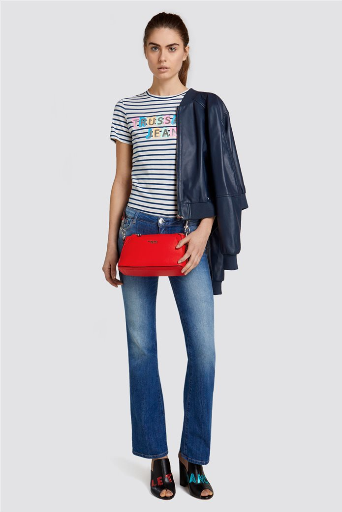 Trussardi Jeans γυναικείo Τ-shirt με brand logo print Μπλε Σκούρο 2