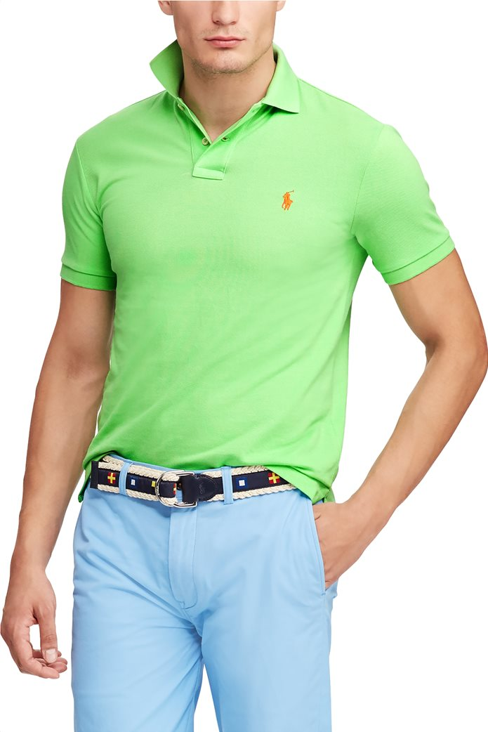Polo Ralph Lauren ανδρική μπλούζα πόλο Slim Fit Mesh Πράσινο 2