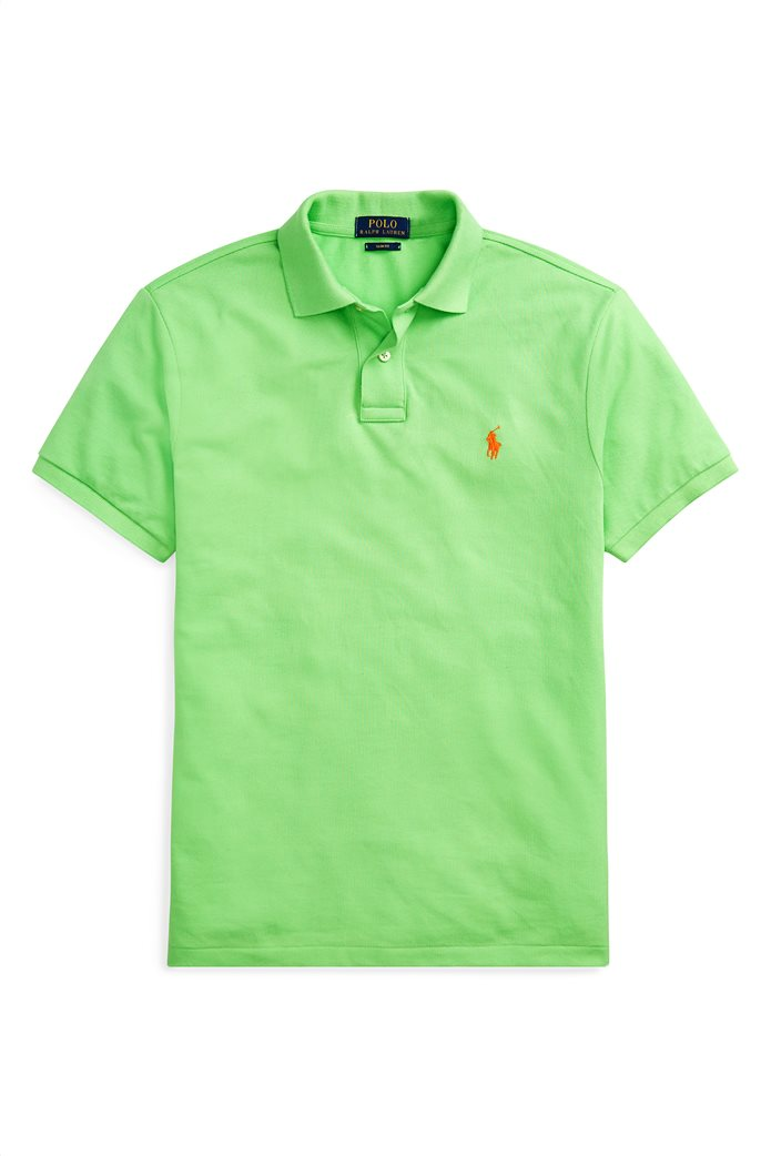 Polo Ralph Lauren ανδρική μπλούζα πόλο Slim Fit Mesh Πράσινο 4