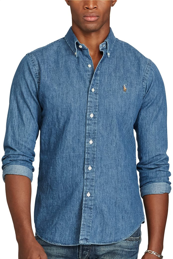 Polo Ralph Lauren ανδρικό πουκάμισο Slim Fit Denim Sport Shirt Μπλε 0