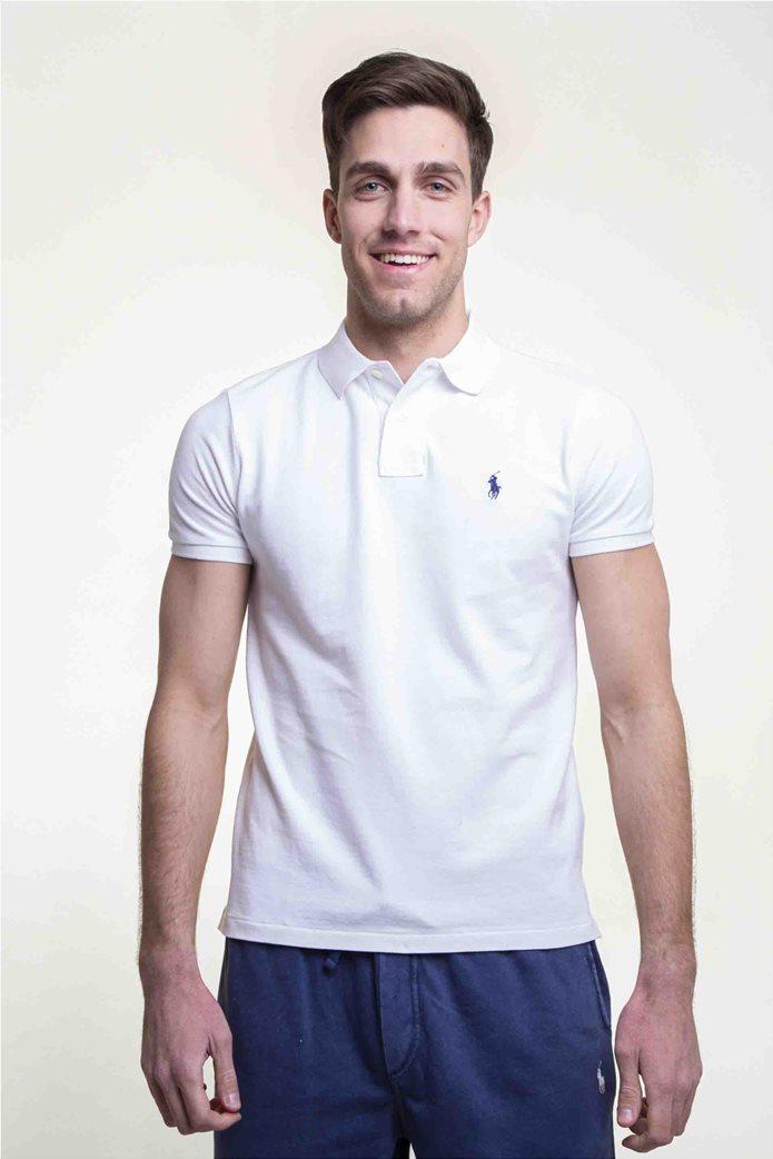 Polo Ralph Lauren ανδρική μπλούζα λευκή πόλο Custom Slim Fit Mesh Polo Λευκό 1
