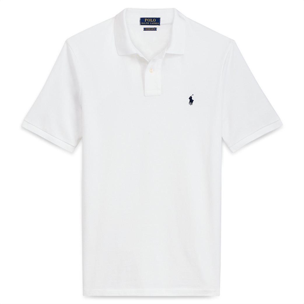 Polo Ralph Lauren ανδρική μπλούζα λευκή πόλο Custom Slim Fit Mesh Polo Λευκό 4