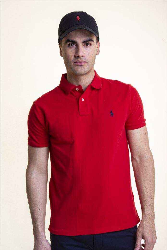 Polo Ralph Lauren ανδρική μπλούζα πόλο κόκκινη Custom Slim Fit Mesh Polo Κόκκινο 0