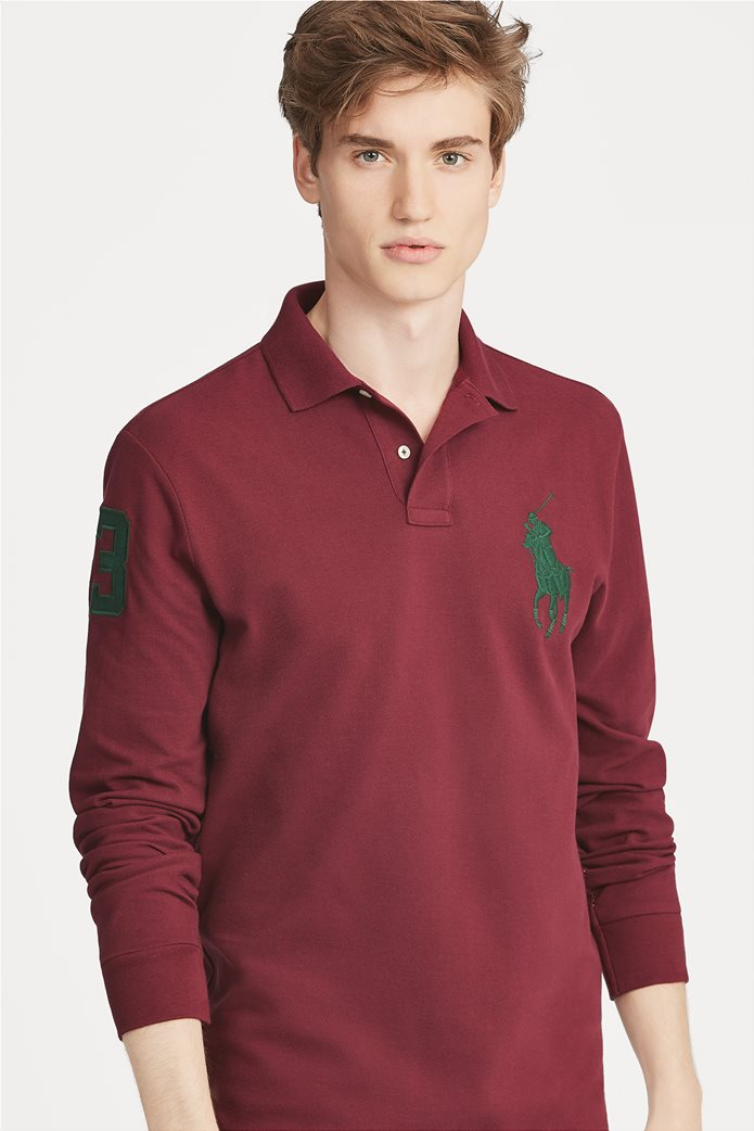 Polo Ralph Lauren ανδρική μπλούζα μπορντό Custom Slim Fit Mesh Polo Μπορντό 0