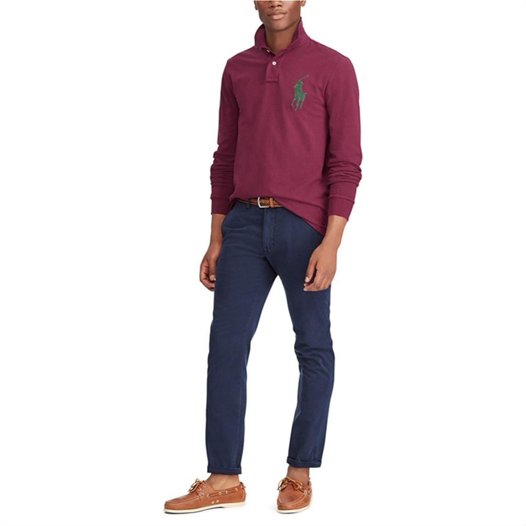 Polo Ralph Lauren ανδρική μπλούζα μπορντό Custom Slim Fit Mesh Polo Μπορντό 2