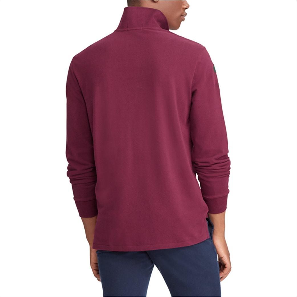 Polo Ralph Lauren ανδρική μπλούζα μπορντό Custom Slim Fit Mesh Polo Μπορντό 4