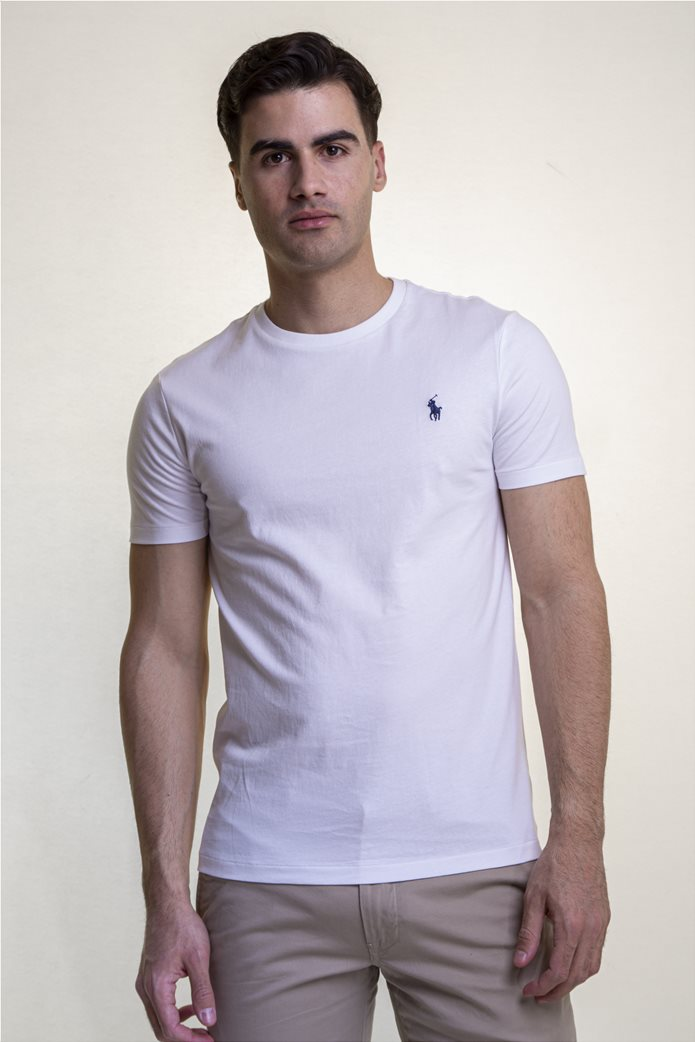 Polo Ralph Lauren ανδρικό μονόχρωμο T-shirt Custom Slim Fit Λευκό 0