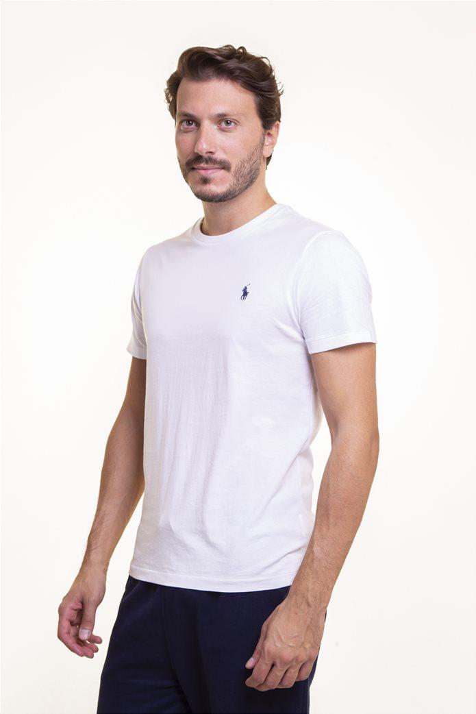 Polo Ralph Lauren ανδρικό μονόχρωμο T-shirt Custom Slim Fit Λευκό 1