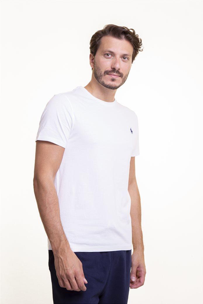 Polo Ralph Lauren ανδρικό μονόχρωμο T-shirt Custom Slim Fit Λευκό 2