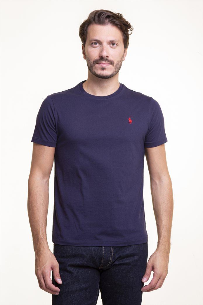 Polo Ralph Lauren ανδρικό T-shirt μπλε σκούρο Custom Slim Fit Cotton T-Shirt Μπλε Σκούρο 0