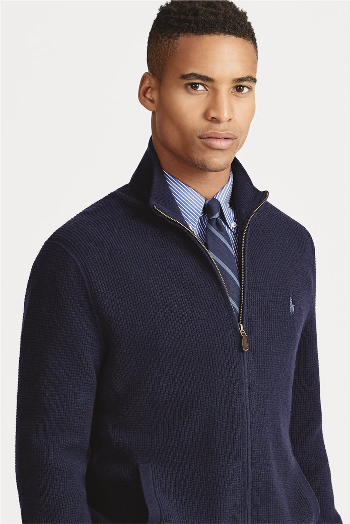 Polo Ralph Lauren ανδρική ζακέτα μπλε σκούρα Merino Wool Full-Zip Μπλε Σκούρο 0