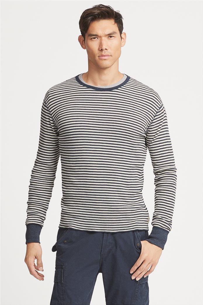 Polo Ralph Lauren ανδρική μπλούζα ριγέ Striped Waffle-knitted T-Shirt Μπλε 0