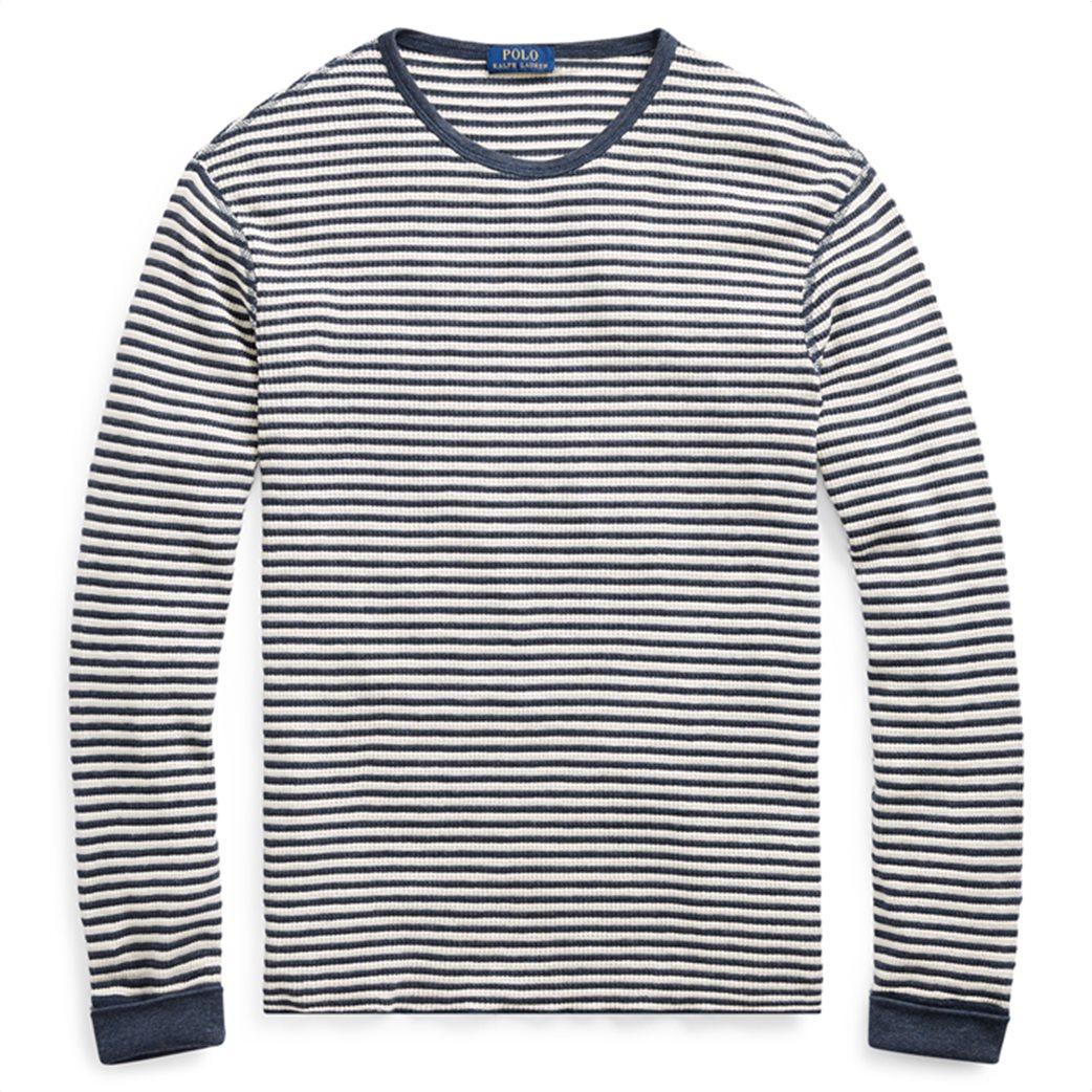 Polo Ralph Lauren ανδρική μπλούζα ριγέ Striped Waffle-knitted T-Shirt Μπλε 1