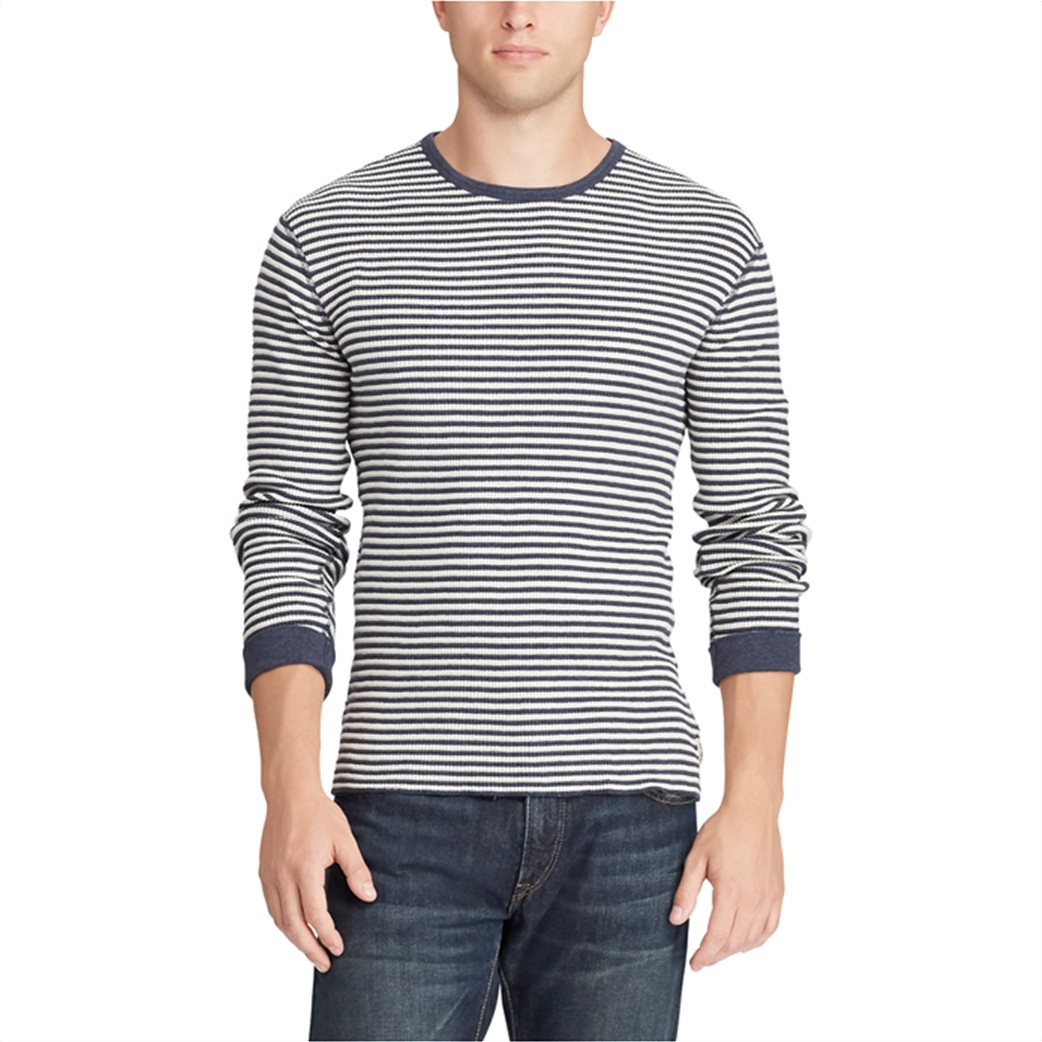 Polo Ralph Lauren ανδρική μπλούζα ριγέ Striped Waffle-knitted T-Shirt Μπλε 3