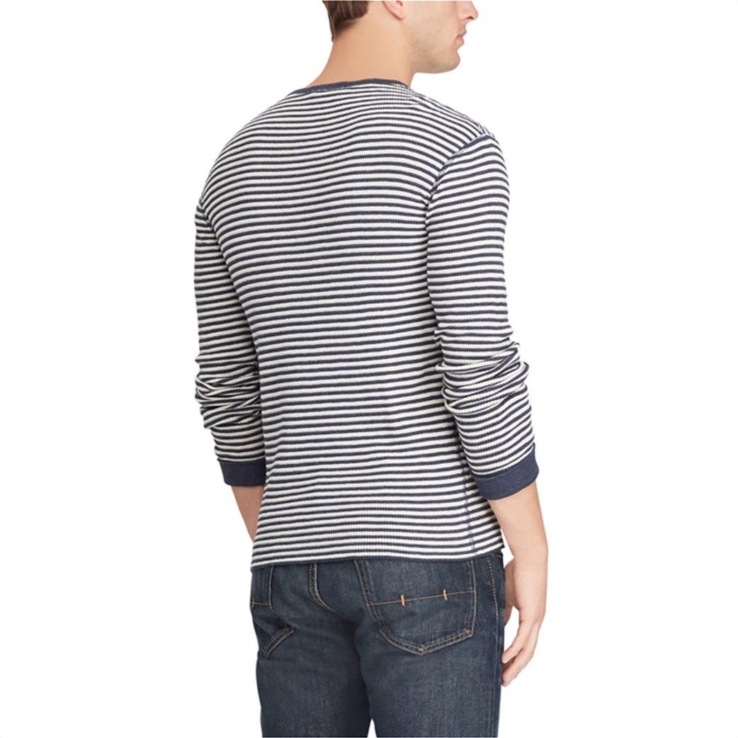 Polo Ralph Lauren ανδρική μπλούζα ριγέ Striped Waffle-knitted T-Shirt Μπλε 4