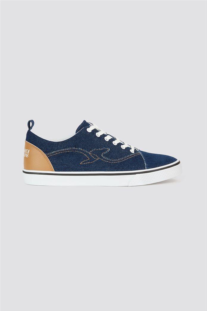 Trussardi Jeans ανδρικά sneakers denim με κεντημένο λογότυπο 0
