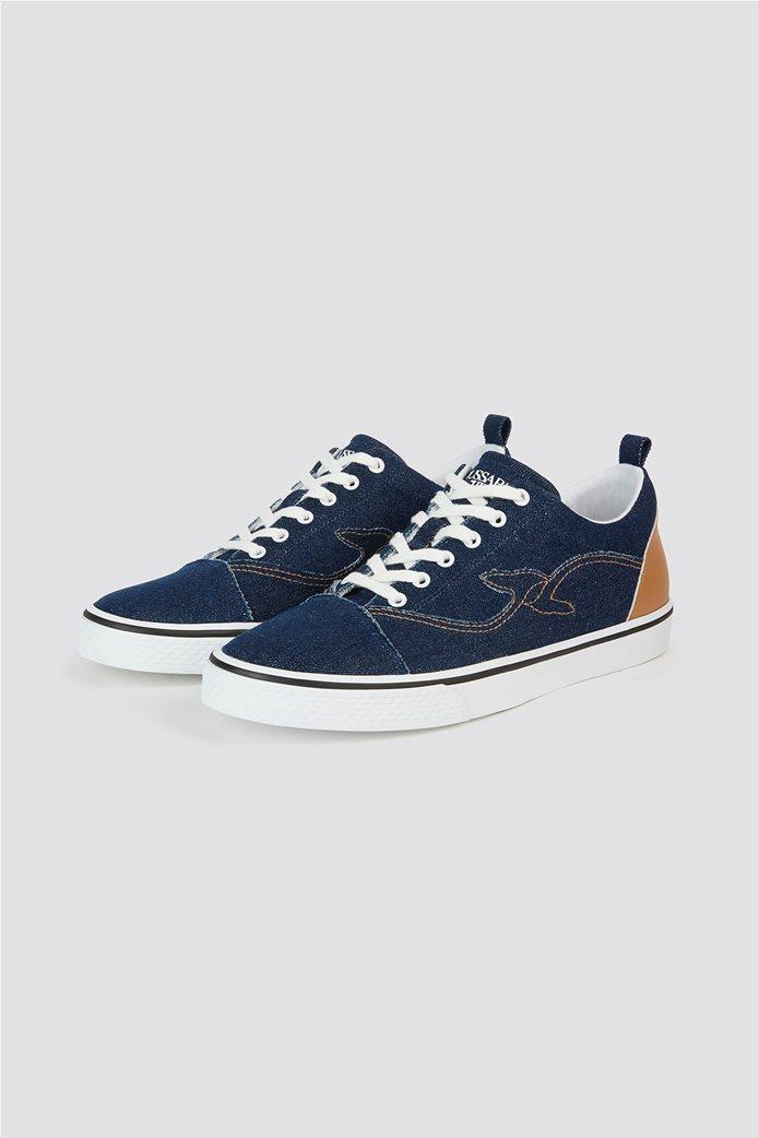 Trussardi Jeans ανδρικά sneakers denim με κεντημένο λογότυπο 1