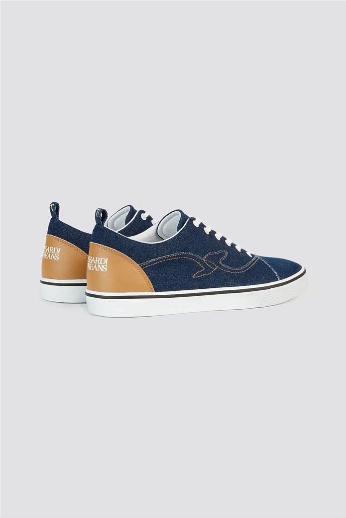 Trussardi Jeans ανδρικά sneakers denim με κεντημένο λογότυπο 2