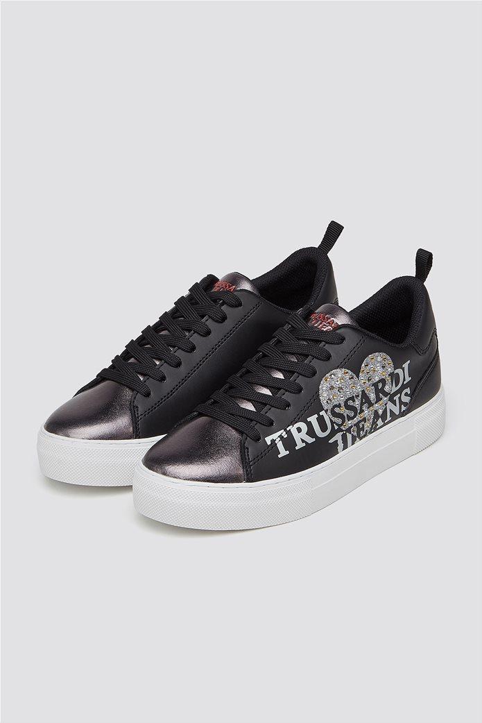 Trussardi Jeans γυναικεία δερμάτινα sneakers με στρας 1