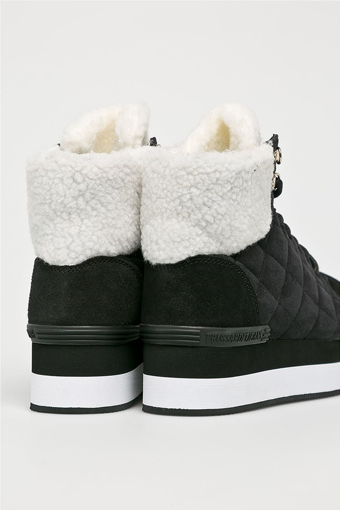 Trussardi Jeans γυναικεία μποτάκια με faux γούνα 2